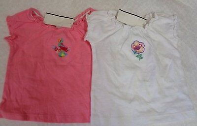 Baby Girl Tops Size 6 Months Pink White Short Sleeve Peasant Style Nwt