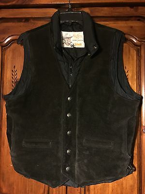 Vintage 80's KENNY ROGERS SCHOTT NYC Black Western Leather Suede Down Vest