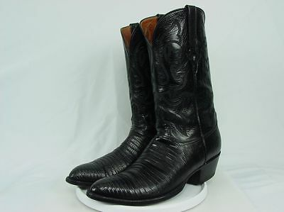 USA LUCCHESE L609524 Men 11-D Black Lizard Western Horse Cowboy Boots W/Formers