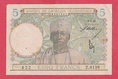 1941 French West Africa 5 Franc Note