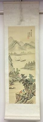 Vintage Chinese Hand Painted On Silk Scroll