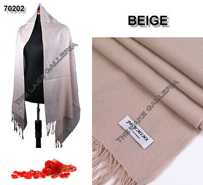 Plain Color BEIGE 100% Pure Real Pashmina Cashmere Wool Shawl Wrap Scarf New