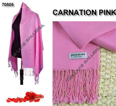 Plain Color Carnation Pink 100% Real Pashmina Cashmere Wool Shawl Wrap Scarf