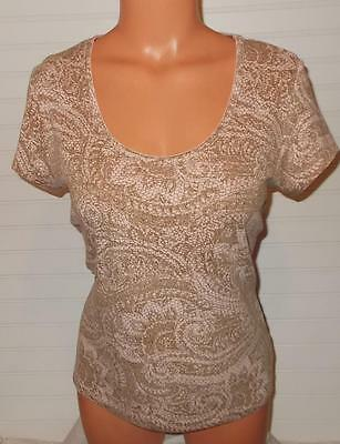 Womens L Knit Blouse THE LIMITED Shirt Pink Brown Short Sleeve Large Ladies Top