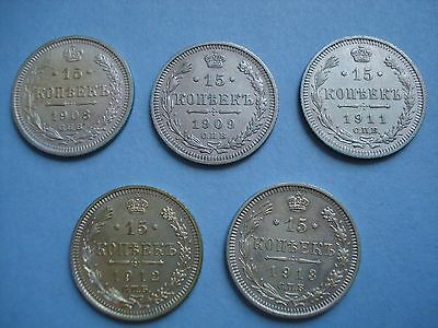 Russian Empire Silver Coins 1908, 1909, 1911, 1912, 1913 15 Kopeks Lot Of 5