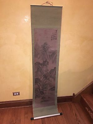 "CHINESE HANGING SCROLL ""Ming Landscape Scenery and Calligraphy"""
