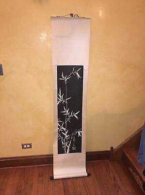 "CHINESE HANGING SCROLL ""Bamboo In Sunlight Scenery and Calligraphy"""