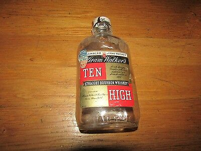 Vintage 1930s Glass Embossed Half Pint Whiskey Bottle Ten High ILL Tax ST Ball