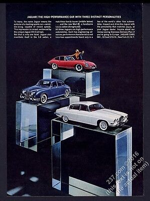 1963 Jaguar XKE XK-E red coupe 3.8 and Mark X car color photo vintage print ad