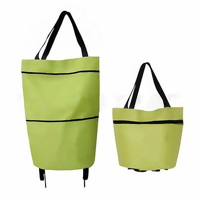 1X Large Green Shopping Trolley Foldable Wheel Lightweight Luggage Bag Cart Tote