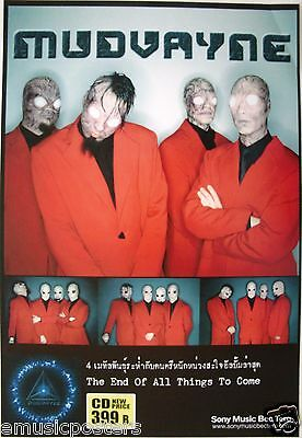 "MUDVAYNE ""END OF ALL THINGS TO COME"" THAILAND PROMO POSTER - Heavy/Math Metal"