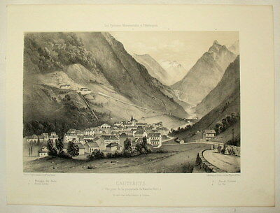 c1860 Cauterets, Pyreneen, Pyrenees - Getönte Lithographie