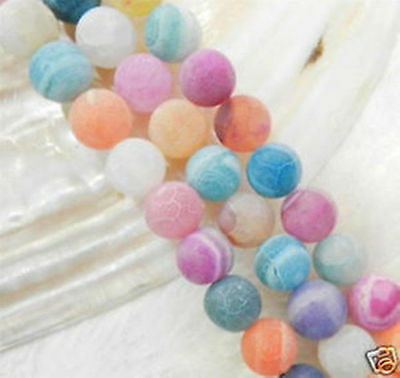 6mm Multicolor Dream Fire Dragon Veins Agate Round Gems Loose Beads 15""