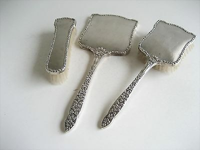 Solid Silver Backed Vanity Dressing Table Set Birmingham 1956 Engine Turned