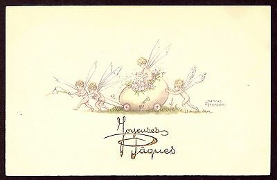 Postcard: Artist signed - Hannes Peterson - Fairies Easter Card - Very Fine.