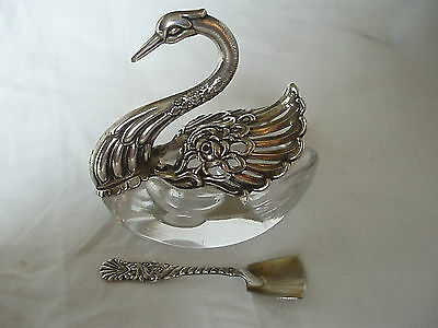 Swan Mustard Pot And Spoon Sterling Silver Circa 1980
