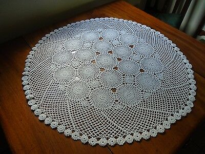 Beautiful Vintage round Crochet lace Table Cloth .