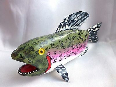 """Jim Lewis Carved 12""""  'rainbow Trout'  Rare Outsider Folk Art"""