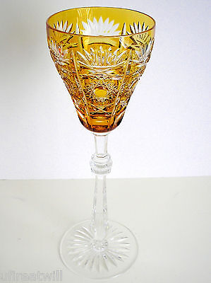 """1 Faberge Czar Bellagio Amber Gold Cased Cut To Clear 11""""  Wine Water Goblet"""