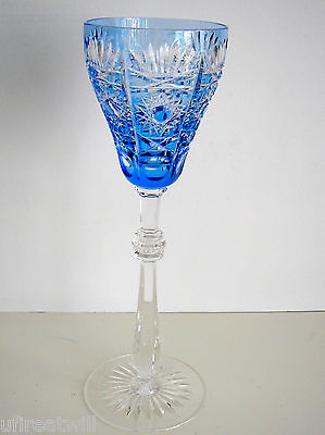 """1 Faberge Czar Bellagio Azure Lt Blue Cased Cut To Clear 11""""  Wine Water Goblet"""
