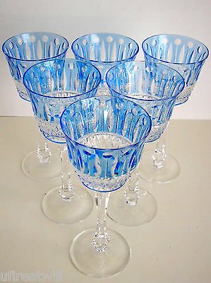 6 Faberge Xenia Azure Blue Cased Cut To Clear Crystal Wine Goblets Signed