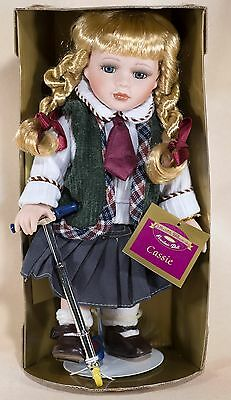 """Collectible Memories Cassie 11.5"""" Porcelain Doll With Scooter and Stand NIB"""