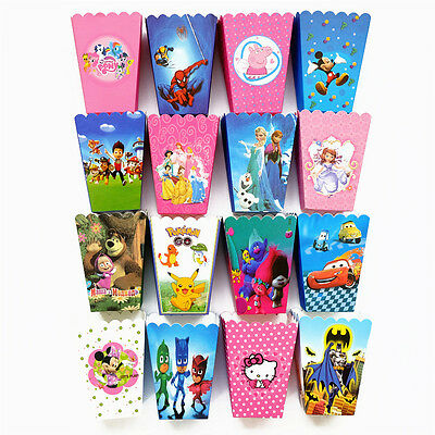 6-24X Cartoon Children Boy Girl Birthday Party Favour Candies Popcorn Boxes