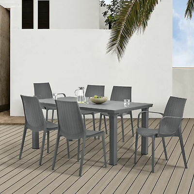 casa.pro Seating area Garden furniture Grey Poly Rattan Look Dining table + 6
