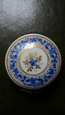 Blue and White China Patch Box Antique