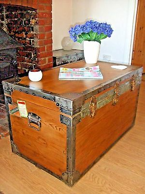 LARGE VINTAGE STEAMER TRUNK Old Waxed Cabin Chest VINTAGE CHEST Table Storage