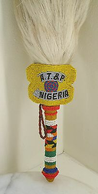 African NIGERIA fly switch. Antique horse hair fly swatter.