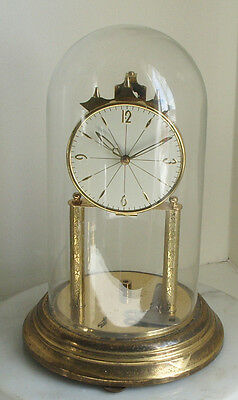 Vintage Anniversary Clock,Large Glass Dome,Brass,German