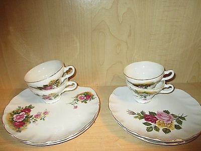 Vintage Rose Norleans China Snack / Luncheon Plate and Cup Set of 4 Japan