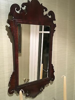 19thc Antique Chippendale Style Mahogany Fret Mirror