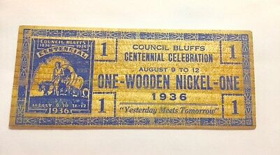 Council Bluffs Iowa 1936 Centennial Celebration Wooden Nickel
