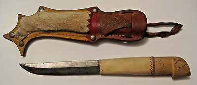 Scarce Vintage Fixed Blade  Puukko Knife With Stag Bone Handle & Leather Sheath