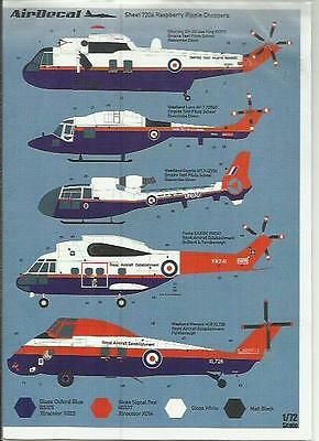 AirDecal decals 7206 RAE SeaKing Lynx Gazelle Puma Wessex decals in 1:72 Scale