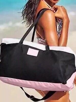 Victoria's Secret Large Weekender Gym/Travel/Duffle Bag Tote Blk/Pink/White NWT