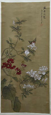 Chinese Scroll Silk Painting MAGNOLIA - 20th. C. - 176x50 cm.