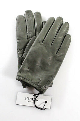 Hestra Gray Leather Wool Lined Wrist Length Gloves Size 7 New