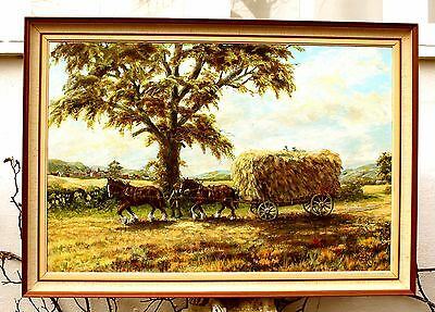 "Stunning Large Mid C20th English School Oil on Canvas - ""Haymaking"""