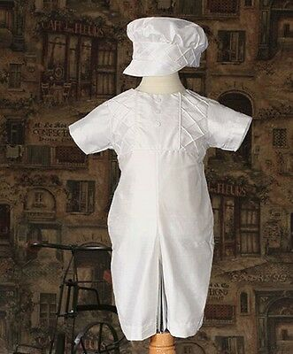 Boys White SILK Christening Outfit Pin Tucking & Captains Hat HANDMADE Sz 0-12M