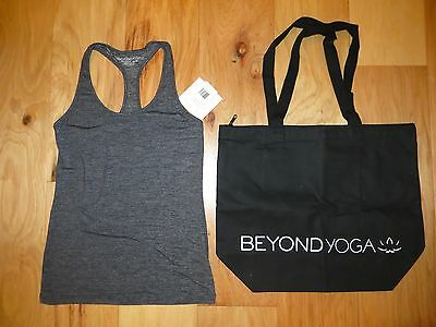 f524a1ac31710 Beyond Yoga Dark Heather Gray Space Dye Racerback Tank Black Tote Bag Nwt S