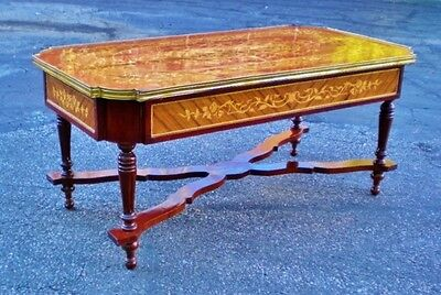 Royal Brass and marquetry Louis XV style coffee table