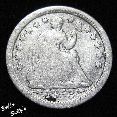 1853 O Seated Liberty Half Dime <> VG Details
