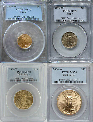 2006 W  $5 $10 $25 $50 Gold Burnished Eagle Pcgs Ms 70 * Low Pop * 4 Coin Set