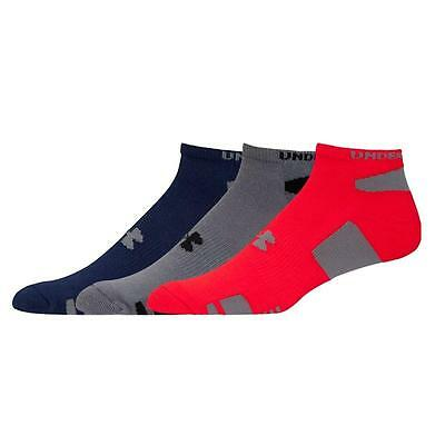Under Armour Mens Heatgear 3 Pair No Show Socks Red/Gray/Navy * Large * NWT