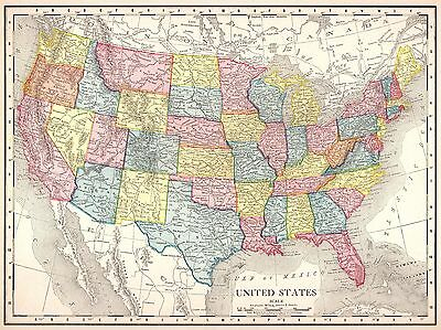 1913 Antique UNITED STATES Map of the United States Original USA Map 3781