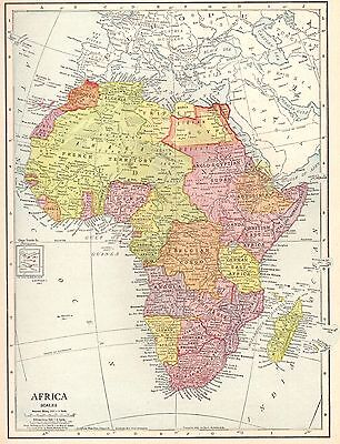 1913 Antique AFRICA Map Beautiful Original Vintage Map of Africa #3785