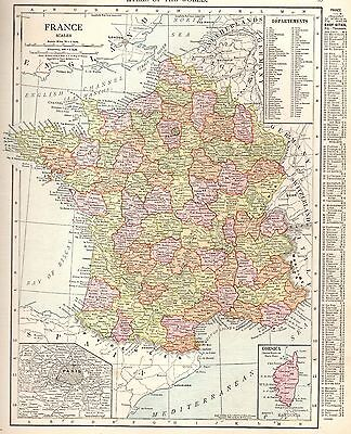 1915 Antique FRANCE Map Vintage Map of France Gallery Wall Art #3787